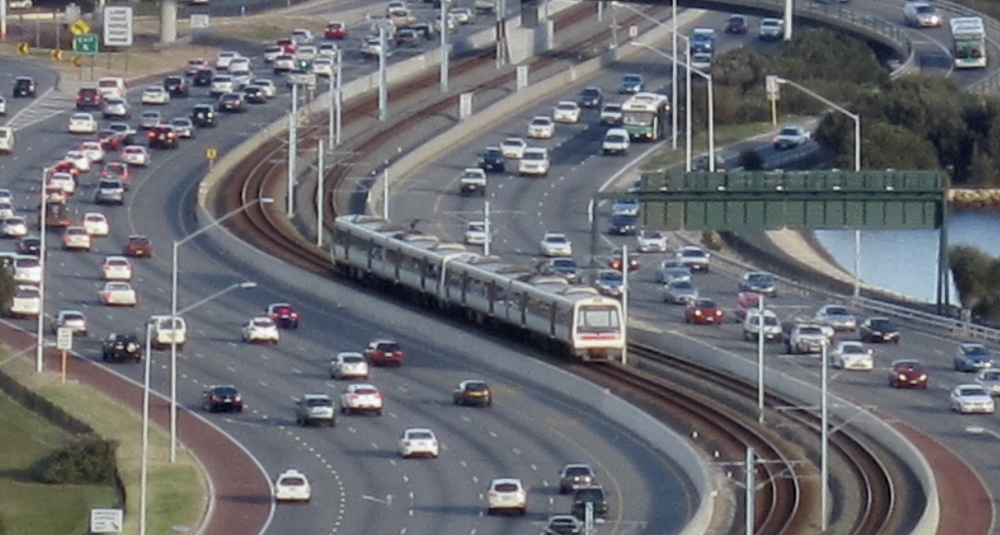 Perth train in freeway