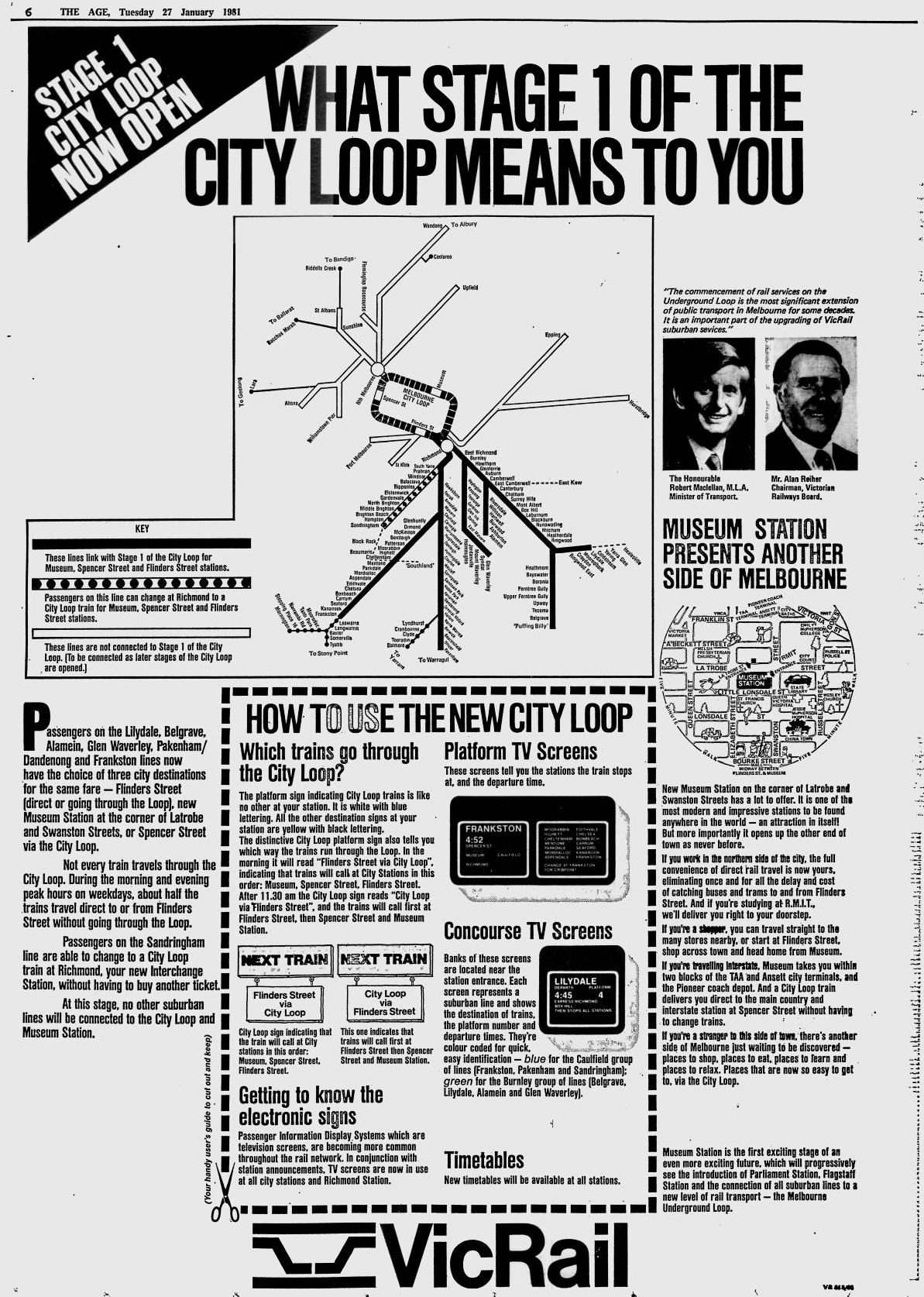 Age ad: City Loop opening, January 1981