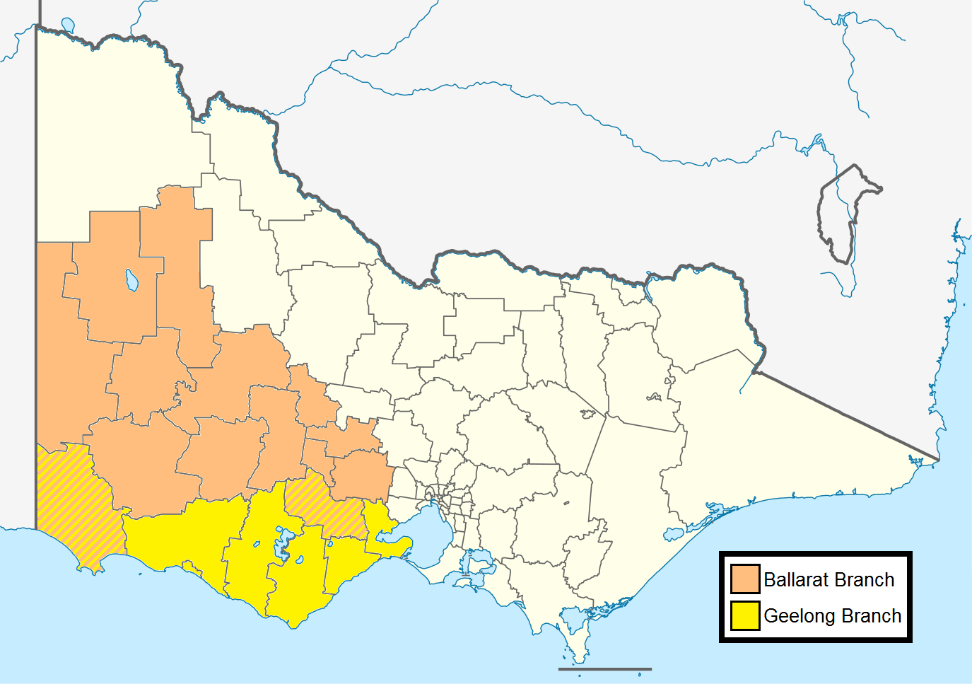 PTUA regional branch areas