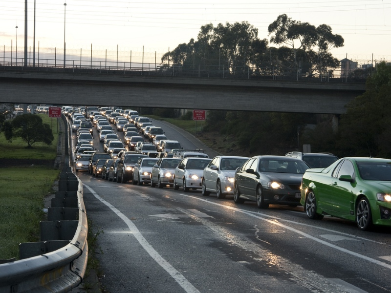 Eastern Freeway: Traffic queuing for Hoddle Street