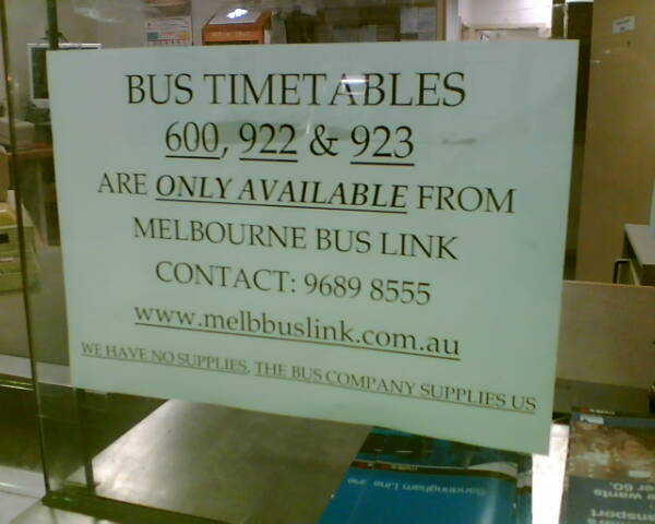 Timetables? Go see the bus company