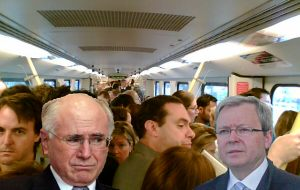 Howard and Rudd on a crowded train