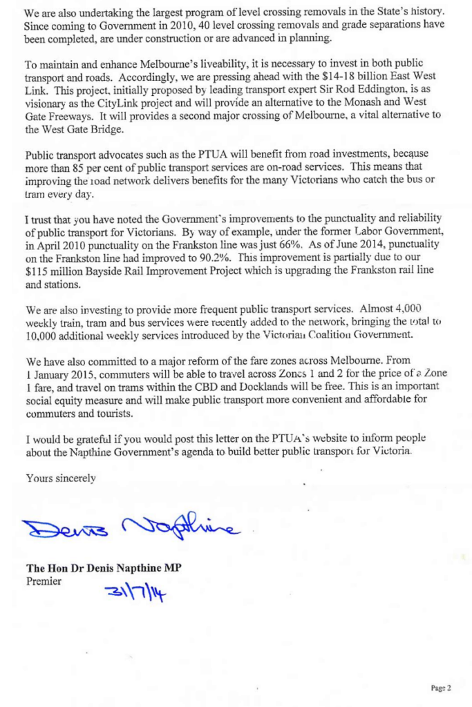 Letter from Premier Napthine to PTUA, August 2014, page 2