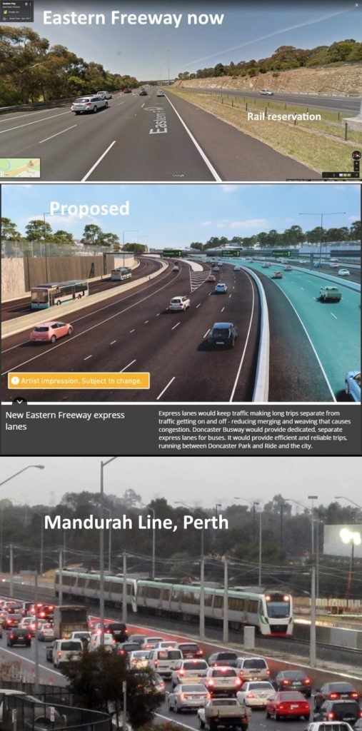 Eastern Freeway now vs planned