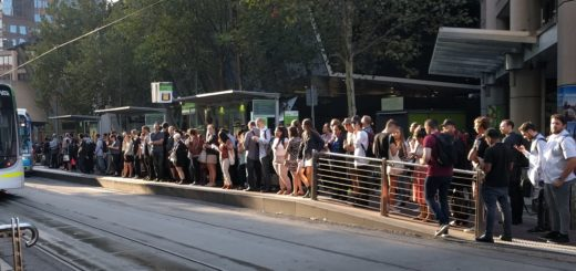 Crowded tram stop