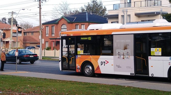 Bus arriving at stop