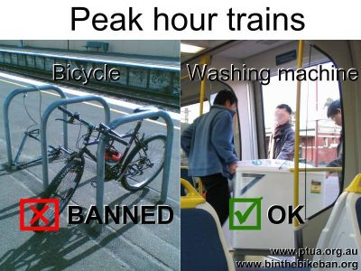 Peak hour trains: Bicycles banned, washing machines allow