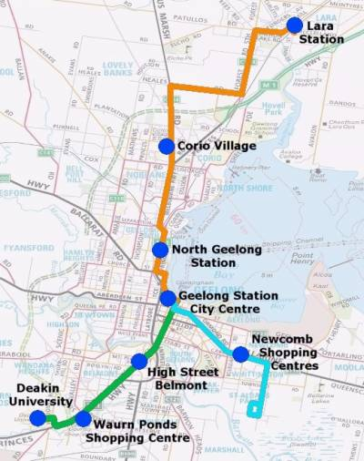 Geelong - first 3 'tram-like' bus routes