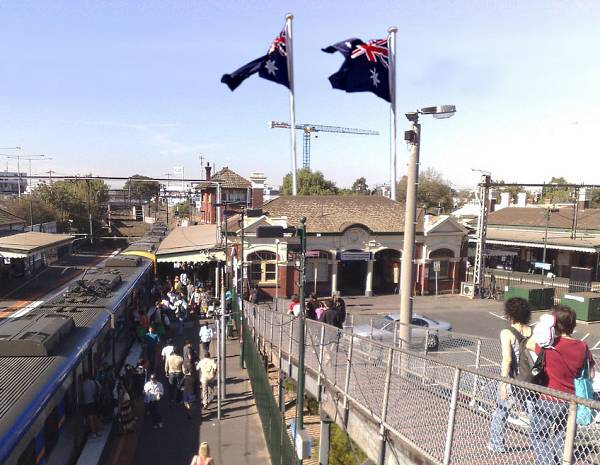 Flags over Footscray Station