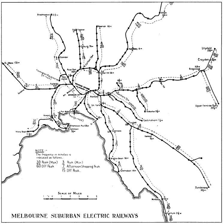 Map of Melbourne rail system and frequencies in 1929